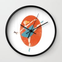 ballerina Wall Clocks featuring Ballerina by Zara Picken