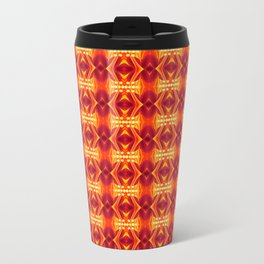 Red Waves Floral Metal Travel Mug