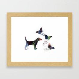 Beagle And Butterflies Framed Art Print