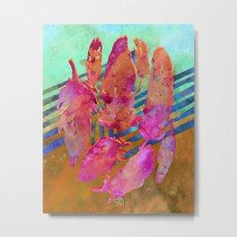 Boho Feathers Hot Pink Rust Aqua Metal Print