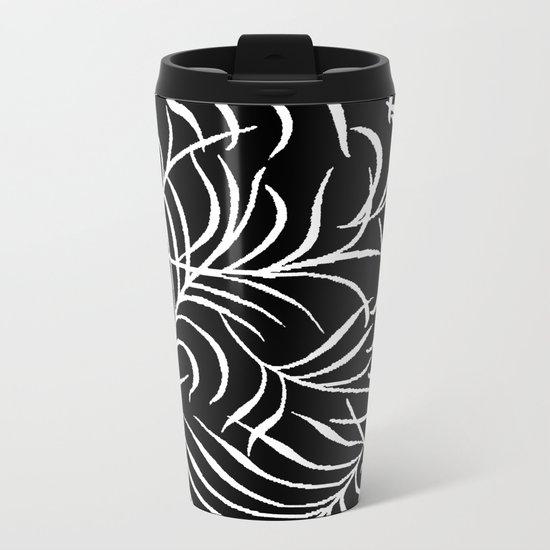 BLACK AND WHITE LEAF PALM Metal Travel Mug