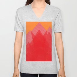 Colorful Red Abstract Mountain Unisex V-Neck