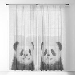 Panda Bear - Black & White Sheer Curtain