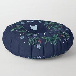 Moonlight Garden - Festive Green Floor Pillow