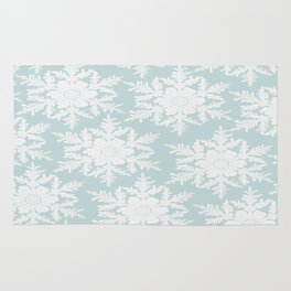 Wedgewood Blue Winter Christmas Snowflake Design Rug