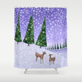 deer in the winter woods Shower Curtain