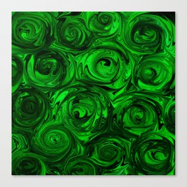 Apple Green and Onyx Glass Swirl Abstract Canvas Print