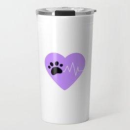 Purple Dog Paw Heartbeat Line Dog Lover Heartbeat Travel Mug