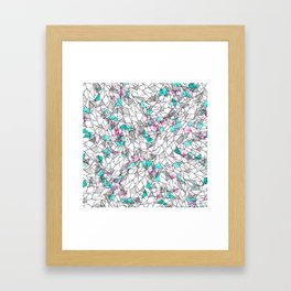 Pink and Teal Abstract Watercolor and Geometric Framed Art Print