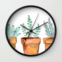craftberrybush Wall Clocks featuring watercolor succulent  by craftberrybush