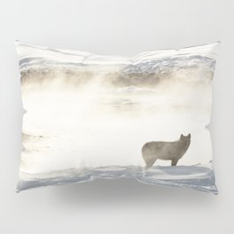 Yellowstone National Park - Wolf and Hot Spring Pillow Sham