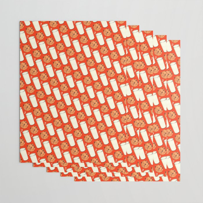 Milk & Cookies Pattern - Red Wrapping Paper