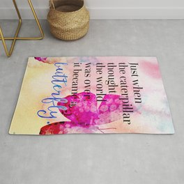 Became A Butterfly Motivational Quote Rug