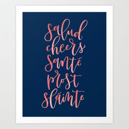 Cheers! - Hand Lettered Art Print - Coral and Navy Palette Art Print