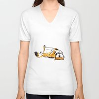 shiba inu V-neck T-shirts featuring Shiba Inu by Charlene Man
