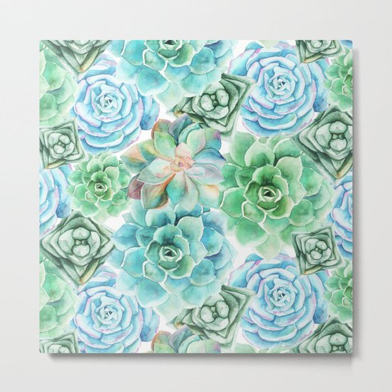 Mint Green Succulents Metal Print