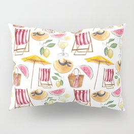 Summer pink yellow watercolor watermelon lemon nautical pattern Pillow Sham