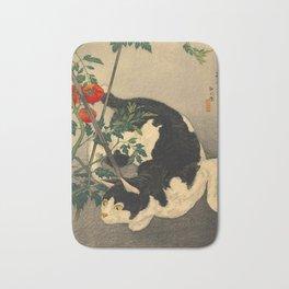 Shotei Takahashi Black & White Cat Tomato Garden Japanese Woodblock Print Bath Mat