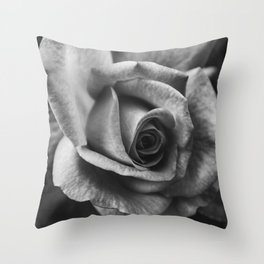 Rose Black and White Photography Throw Pillow