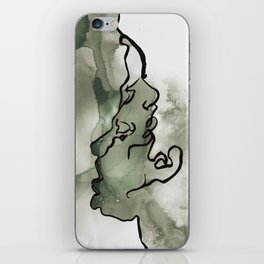 line water color faces iPhone Skin