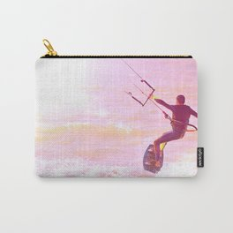 Kitesurfer at sunlight. Back view. Unrecognizable Carry-All Pouch