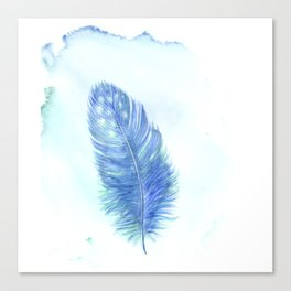Blue feather. Watercolor illustration. Canvas Print