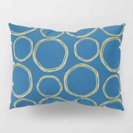 Bright Blue & Gold Circles Modern Pattern Pillow Sham