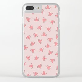 Crazy Happy Uterus in Pink, small repeat Clear iPhone Case