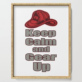 Stay Calm And Equip Yourself Off Fire Brigade Gift Serving Tray