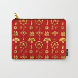 Gold on Red  Lucky Chinese Symbols  Pattern Carry-All Pouch