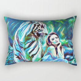 Beauty And The White Tiger | Fantasy Art - Painting Rectangular Pillow