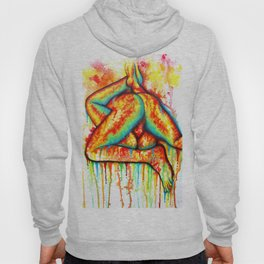 Holy Fuck - Erotic Art Illustration Nude Sex Sexual Love Lovers Relationship Couple Mature Colorful Hoody