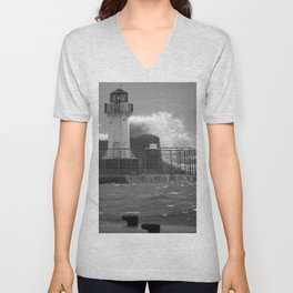 Ardrossan Lighthouse Versus the Sea Unisex V-Neck