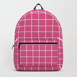 Fandango pink - pink color - White Lines Grid Pattern Backpack