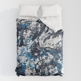 Cool Blue Abstract Crackles Comforters