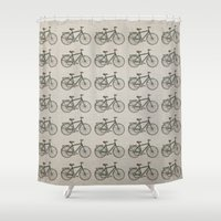 bikes Shower Curtains featuring Bikes Patterm by Rafael Matos