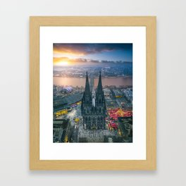Sunset at the Rhine Framed Art Print