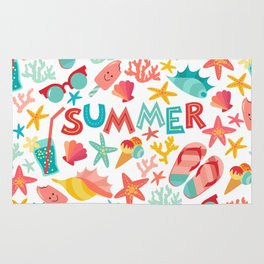 Summer seamless pattern with ice-cream, suglases, cocktail,  starfish, coral, flip flop sandals. Vac Rug