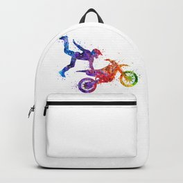 Boy Motocross Hart Attack Trick Colorful Watercolor Art Gift Motorcycle Art Backpack