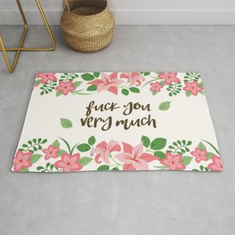 Fuck You Very Much - Ivory Background Rug