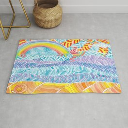 Sea beach with a rainbow and shells - abstract doodle colorful landscape Rug