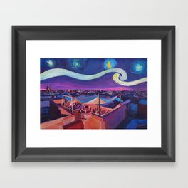 Starry Night in Marrakech   Van Gogh Inspirations on Fna Market Place in Morocco Framed Art Print
