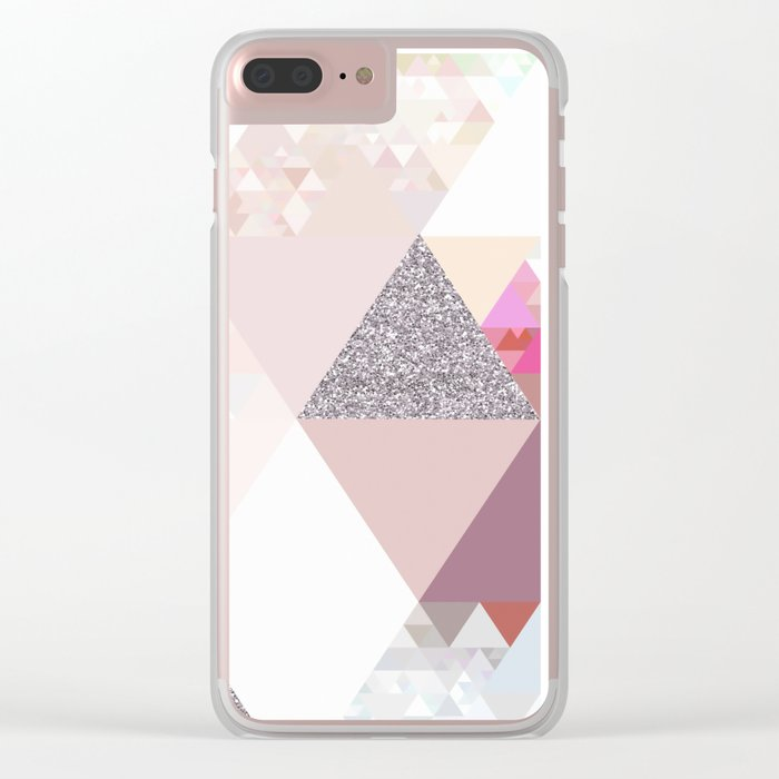 Triangles in glittering Rose quartz - pink glitter triangle pattern Clear iPhone Case