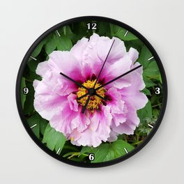 Rose and mauve peony with a heart of gold Wall Clock