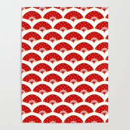 Exotic Red Chinese Dance Fans Pattern on White Poster