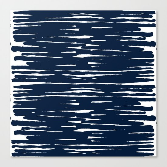 Maritime pattern- darkblue handpainted stripes on clear white- horizontal Canvas Print
