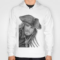 jack sparrow Hoodies featuring Captain Jack Sparrow by Celeste Roddom