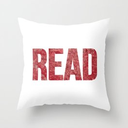 Read Dictionary Page Red Throw Pillow