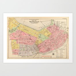 Vintage Map of Boston MA (1876) Art Print