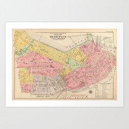 Vintage Map of Boston MA (1876) Art Print